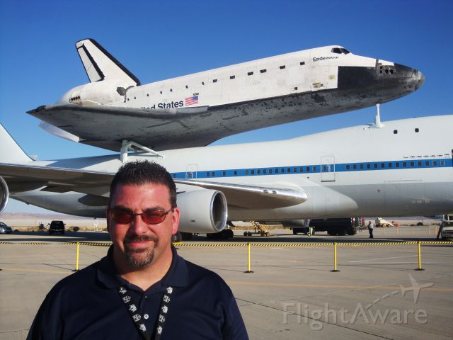 — — - NASA 747 SCA (N905NA) with Endeavour (OV105) stopped over at NASA Dryden Flight Research Center on its way to its new homein LA.