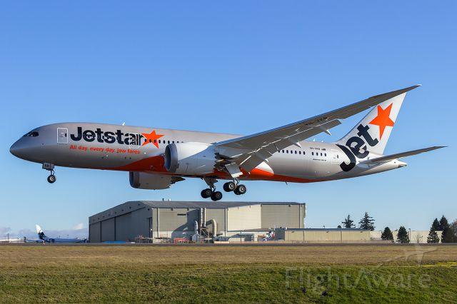 Boeing Dreamliner (Srs.8) (VH-VKB) - Jetstar B787-8 VH-VKB arriving back at Paine Field after its maiden flight.
