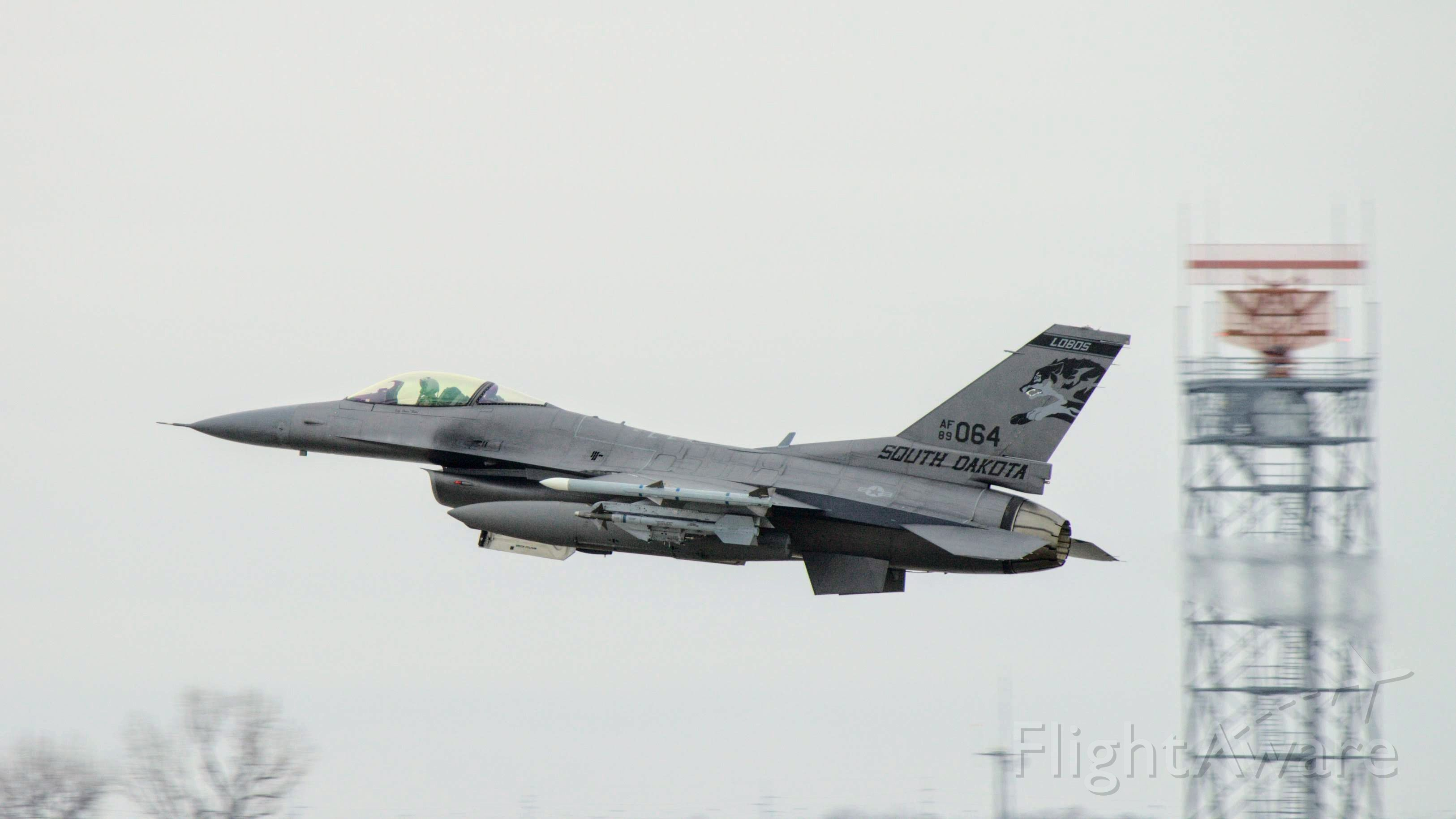 """Lockheed F-16 Fighting Falcon (89064) - Nose gear doors closing """"on the go"""" for #89-064 (F-16C Block 40)<br />South Dakota Air National Guard 114th Fighter Wing / 175th Fighter Squadron"""