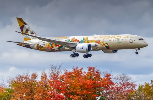 """Boeing 787-9 Dreamliner (A6-BLH) - The ADNOC (Abu Dhabi National Oil Company) """"Choose Italy"""" livery glides past some Autumn colours for a runway 05 touchdown at YYZ"""