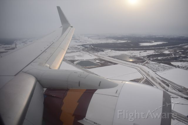 Boeing 737-700 (N943WN) - Approach into KOMA on a winters evening onboard California One.