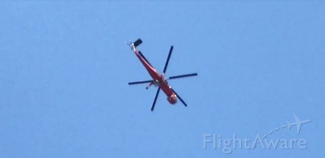 — — - SIkorsky S-64 Skycrane heading northwest over Muskingum County, Ohio.