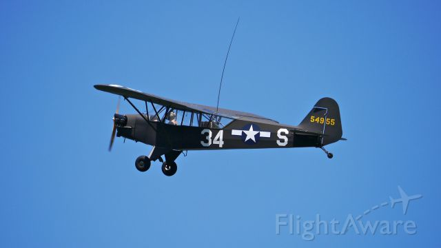 N68935 — - Historic Flight Foundations Piper J3C-65 (Ser#13695) performs during Flying Heritage Collections SkyFair on 7/26/14.