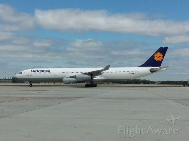 D-AIGM — - Lufthansa A340 pulling into the gate at KATL.