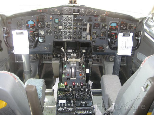 Boeing 737-200 (N72155) - Cockpit of a T-43 Bobcat at the Joint Services Open House 2011 held on Andrews Air Force Base. The T-43 is a modified Boeing 737-200 used to train Navigators in the United States Air Force.
