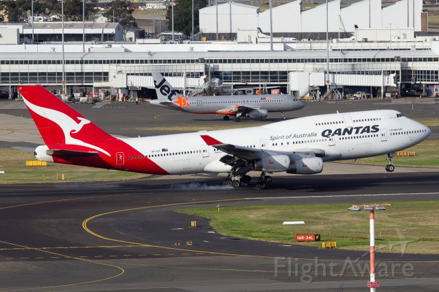 Boeing 747-400 (VH-OJT) - Arriving from Johannesburg as QFA64/QF64.