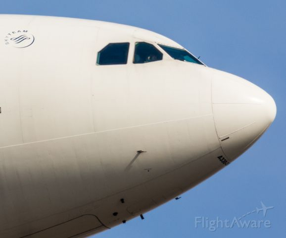 Airbus A330-300 (N853NW) - This is the nose of a Delta Airbus A333 coming in for a landing at Detroit Metro Airport. It looks like the co-pilot is starring me down! Ha, cool.