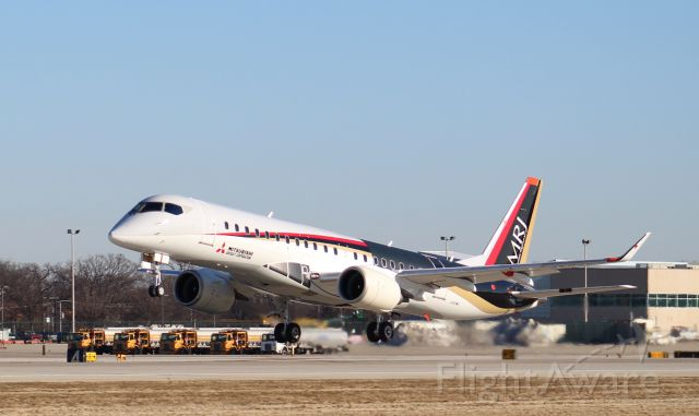 JA24MJ — - Mitsubishi MRJ test aircraft JA24MJ departing KRFD on a test flight