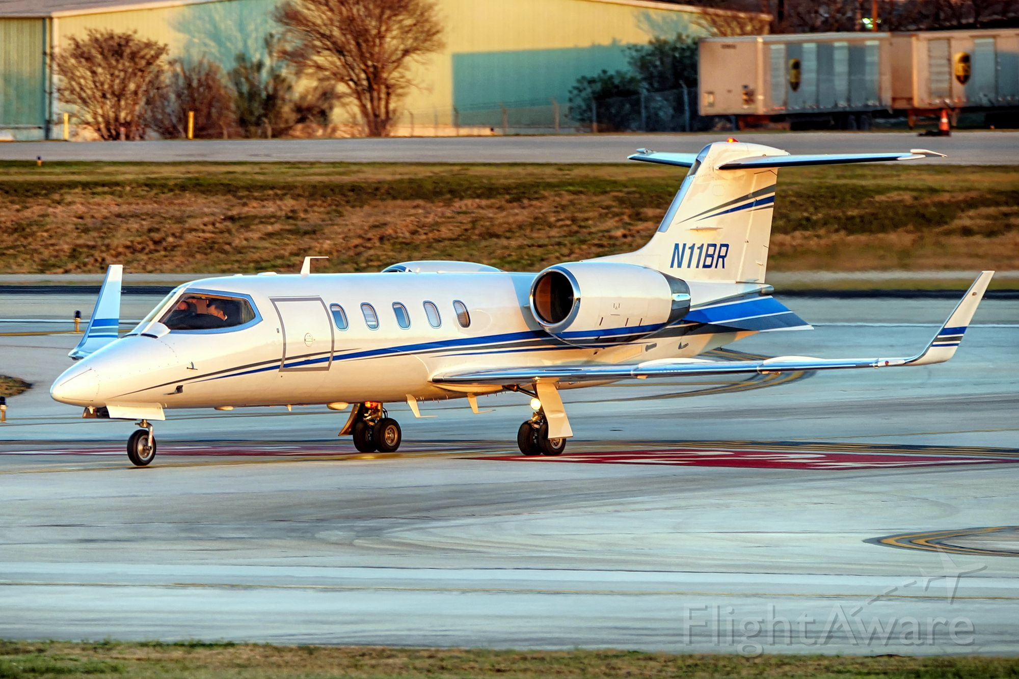 Learjet 31 (N11BR) - Exiting 4 after arrival.