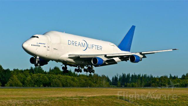 Boeing Dreamlifter (N249BA) - GTI4351 from KCHS on short final to Rwy 34L on 8/5/14. (LN:766 / cn 24309).