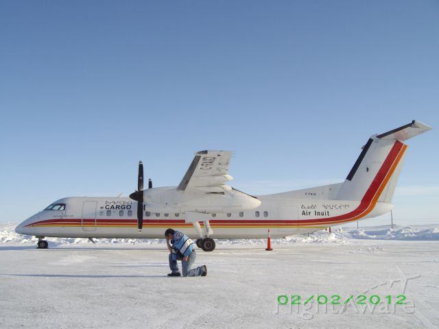 C-FAID — - This is Air Inuit's Dash 8 Cargo.I was doing Tim Tebow pose.