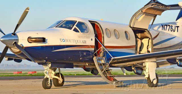 Pilatus PC-12 (N776JT) - Boutique Air 325 sitting on the ramp at the Merced Regional Airport 2/05/16