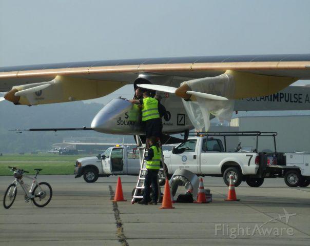 HB-SIA — - Bertrand Picard in the cockpit of Solar Impulse preparing for leg 4 of the flight across America (KLUK-KIAD Lunken Airport Cincinnati to Washington Dulles)