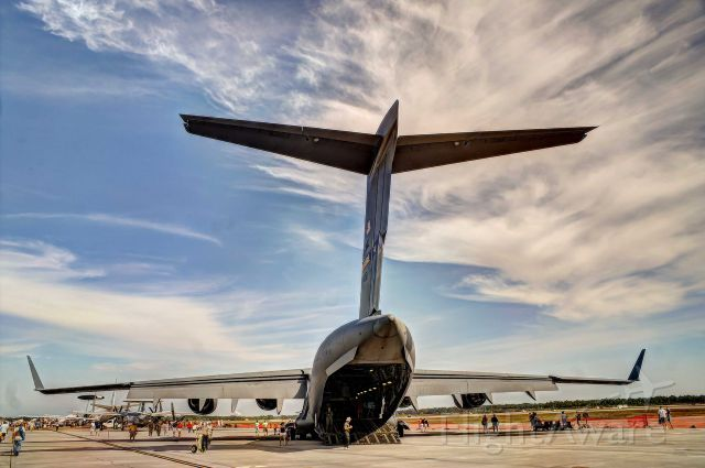 Boeing Globemaster III — - A C-17 sits on the ramp at a Tyndall AFB airshow.
