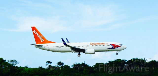 Boeing 737-800 (C-GTVF) - Sunwing B738 ON FINAL APP TO MDPP AIRPORT!