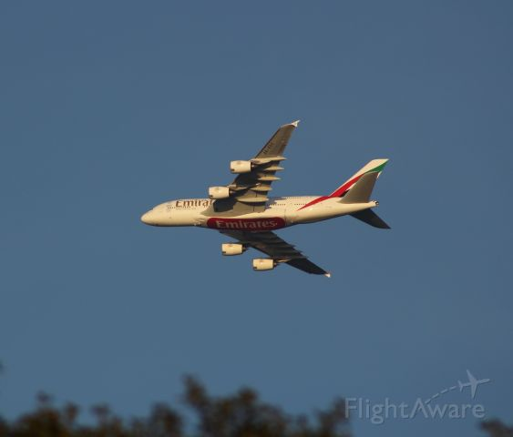 Airbus A380-800 (A6-EDO) - From Gateway National Park, Emirates Super low and slow headed northbound along the shoreline toward JFK.