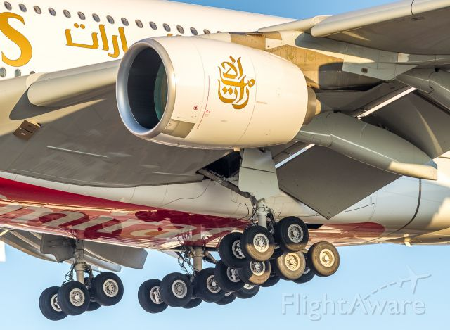 Airbus A380-800 (A6-EUL) - 20 tires of the main gear on this Emirates super as she roars over Airport Road and drops down to runway 23 at YYZ