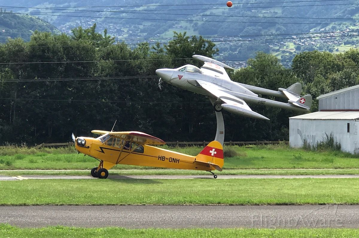 HB-ONH — - The Piper Cub and the Venom at Bex Airfield.