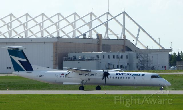 de Havilland Dash 8-400 (C-GENO) - Shown here taxiing is a WestJet de Havilland Dash 8-400 twin turboprop in the Spring of 2107.