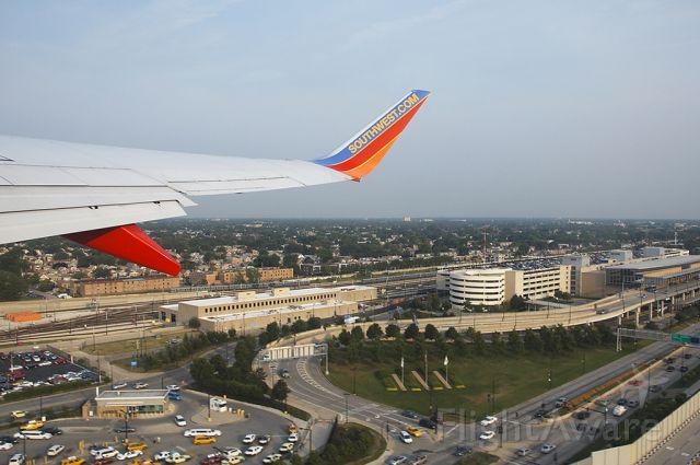 — — - after departure from MDW, the main terminal and Cicero Ave. in view down below