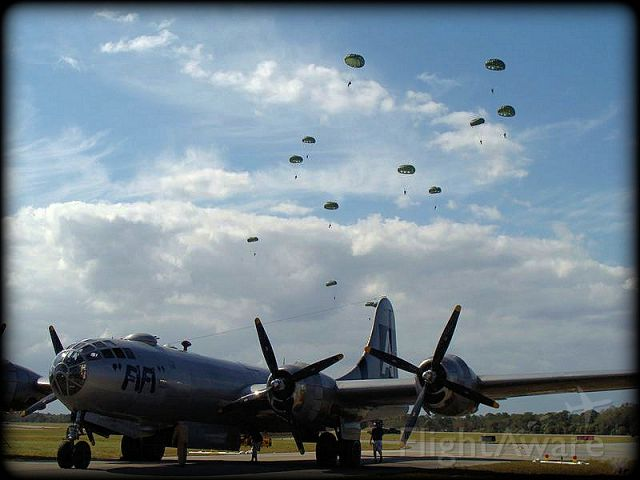 Boeing B-29 Superfortress — - B29 at Tico Airshow during WWII paratrooper drop.