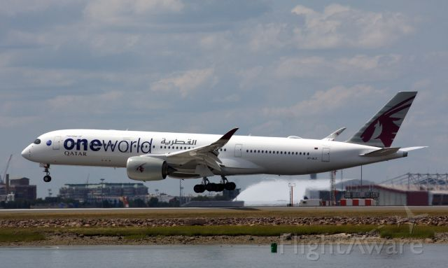 Airbus A350-900 (A7-ALZ) - Qatar A350-900 One World Livery landing at BOS on 8/12/20.