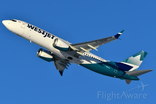 Boeing 737 MAX 8 (C-GEHF) - Westjet Boeing 737 MAX8 departing YYC on Dec 8.