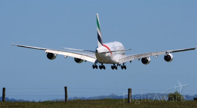 Airbus A380-800 (A6-EDD) - Final approach of EK412 to runway 23L.