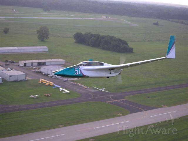 RUTAN Long-EZ (N818KD) - Fly over of quarterly hangar party at 2M8.