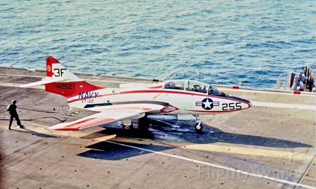 """Grumman F9F Panther (NAVY3F255) - Carrier qualifications aboard USS Intrepid February 1970 - Gulf of Mexico off Corpus Christi, Texas. Carrier quals are the last and hardest hurdle prior to winning Navy """"Wings of Gold"""""""