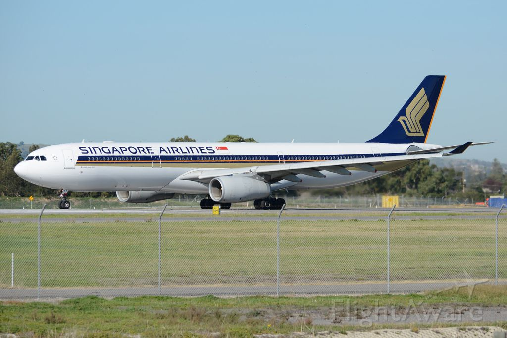 Airbus A330-300 (9V-STY) - Rolling for take-off on runway 05, for flight home to Singapore. Wednesday, 21st May 2014.