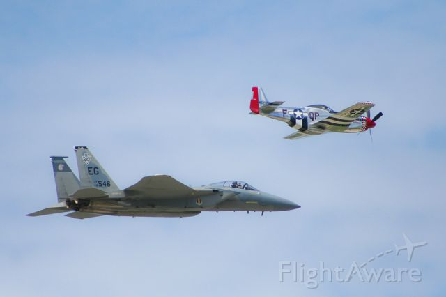 NL68JR — - F-15 Eagle flies alongside the P-51 MUSTANG at the Kansas City Air Show, Wheeler Downtown Airport