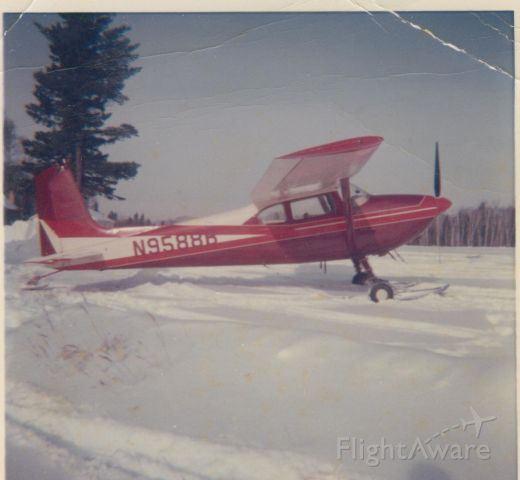 Cessna Skywagon 180 (N9588B) - On skis at Duncan Airport, Isabella, Minnesota about 1962, when operated by Duncan Airways Inc. of Isabella, Minn.