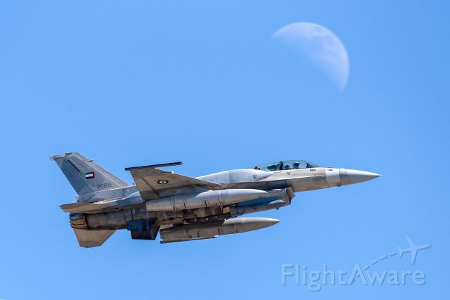 Lockheed F-16 Fighting Falcon (3002) - An F-16F Desert Falcon of the UAEAF departs NAS Fort Worth JRB on a test flight.