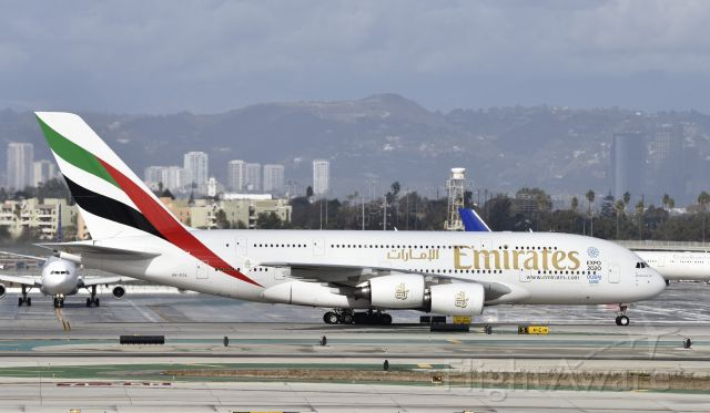 Airbus A380-800 (A6-EOL) - Taxiing to gate at LAX