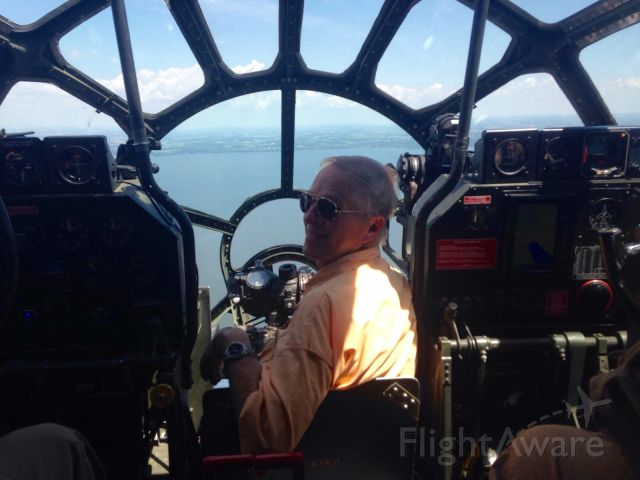 Boeing B-29 Superfortress (N529B) - My husband Vern sitting in FiFi