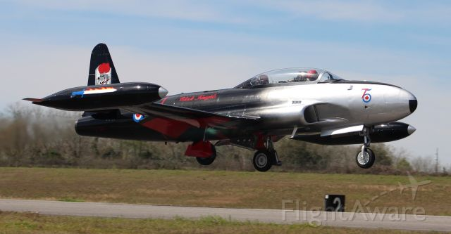 Lockheed T-33 Shooting Star (N133CN) - A Canadair CT-133 Silver Star departing Runway 1 at Sonny Callahan Airport, Fairhope, AL, during the Classic Jet Aircraft Association 2020 Jet Blast - morning of March 7, 2020.