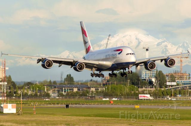 Airbus A380-800 (G-XLEF) - On short final past Mount Baker.