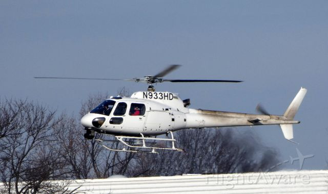 Eurocopter AS-350 AStar (N933HD) - Shortly after departure is this 2013 Eurocopter AS-350 in the Winter of 2018. This turbo-prop is used by the local CBS television affiliate. Now where is the closest Helo Wash?