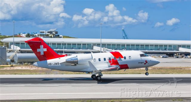 Canadair Challenger (HB-JWB) - Swiss Air-ambulance 62 arriving at St Maarten from Santa Maria after a fuel stop.<br />They collected some special needs persons and departed.