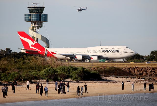 """Boeing 747-400 (VH-OEJ) - """"WUNALA"""" did a Circuit of Kingsford-Smith Airport before Departure and then created the 'Flying Kangaroo' logo on Flight Radar off the coast!49 Years of Qantas Queens comes to an end :("""