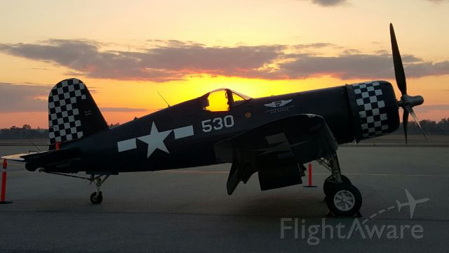 VOUGHT-SIKORSKY V-166 Corsair (N9964Z) - Picture of the CAFs FG-1D Corsair on the ramp in Tallahassee at dusk. Picture taken by a co-worker... wish I could take credit for this one!