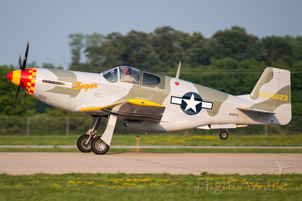 TITAN T-51 Mustang (N751TA) - Rolling out on runway 36 at EAA Airventure 2019.