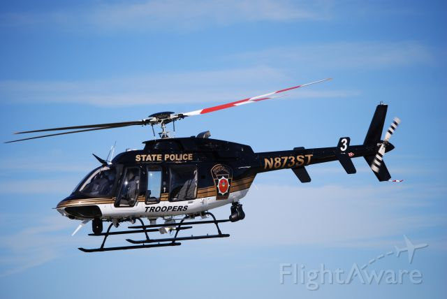 Bell 407 (N873ST) - Waiting to go up in my friends Vans RV9/A, the State Police chopper took off from Arnold Palmer Regional Airport in Latrobe, PA.