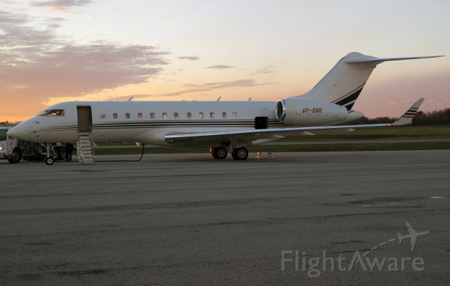 Bombardier Global 5000 (VP-BWB) - Preparing for a flight to Rome, Italy.