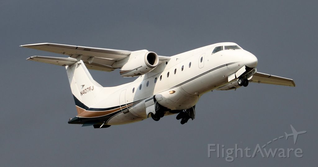 Fairchild Dornier 328JET (N407FJ) - Ultimate Jet Charter 7 - a Fairchild Dornier 328JET departing Runway 18 at Pryor Regional Airport, Decatur, AL - September 11, 2019.