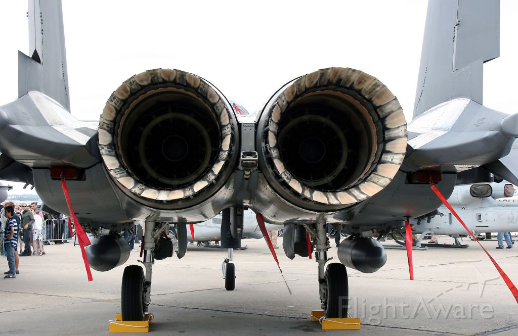 — — - McDonnell Douglas F-15E Strike Eagle USAF presented statically at Paris Le Bourget Air Show in June 2011.