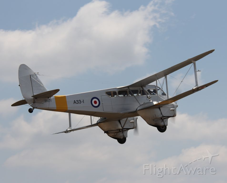 De Havilland Dragon Rapide (VH-UTV) - de Havilland DH-89A Dragon Rapide, in RAAF color.<br />Manufactured in 1940, UK<br />Photo: 04.11.2012