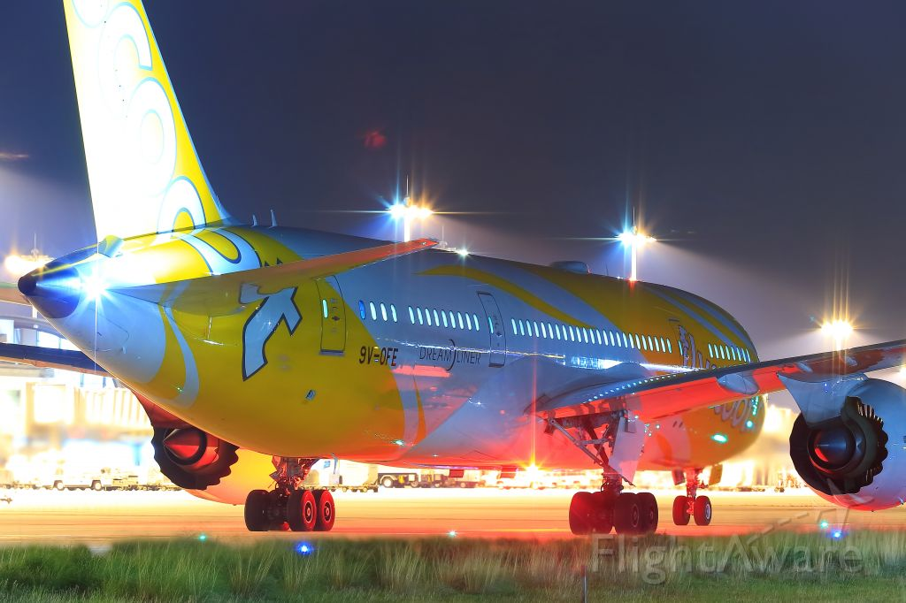 Boeing Dreamliner (Srs.8) (9V-OFE) - Light-up Scoot in KIX!!