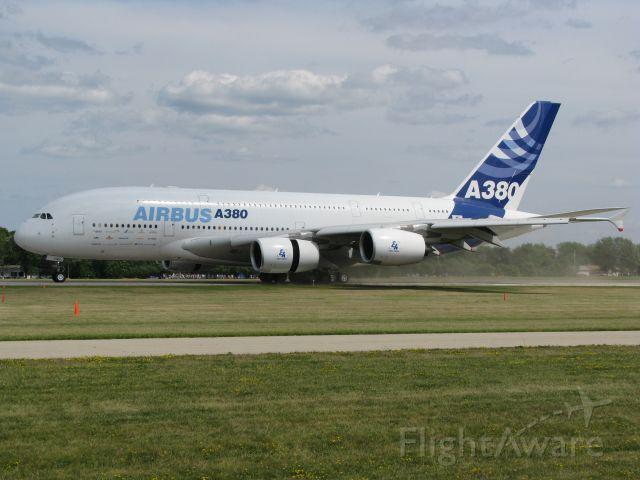 Airbus A380-800 (F-WWDD) - Airbus A-380 landing at Oshkosh.